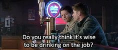 """[gif] """"Do you really think it's wise to be drinking on the job?"""" - Castiel  #Supernatural  #Sacrifice  8.23"""