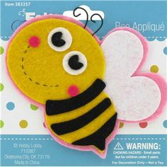 Felt Fashion Yellow & Black Bee Felt Applique | Shop Hobby Lobby