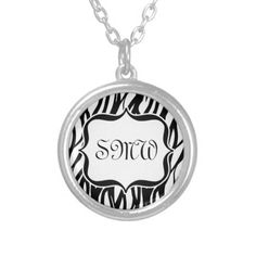 Shop Funky Black/White Zebra Monogram Silver Plated Necklace created by cutencomfy. White Zebra, Black White, Monogram Necklace, Black Felt, Monogram Initials, Fashion Necklace, Script Writing, Jungle Theme, Jewels