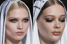 15 Incredible Couture Beauty Looks Worthy of a Close-up: VERSACE: Who'd ever think Versace would be the label that made blue eye liner look wearable?