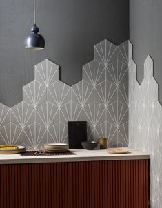 Explore our range of stylish porcelain and ceramic tiles and flooring in endless designs & formats. Purchase floor & wall tiles online here at Mandarin Stone. Kitchen Wall Tiles Design, Grey Wall Tiles, Kitchen Tiles, Tile Design, Grey Patterned Tiles, Mandarin Stone, Outdoor Tiles, Hexagon Tiles, Style Tile