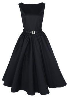 Lindy Bop Vintage 50S Audrey Hepburn Style Swing Party Rockabilly Evening Dress Black XX-Large