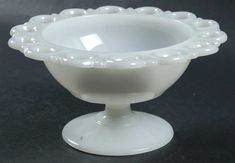 Lace Edge Milk Glass Round Compote, Height x Width by Anchor Hocking