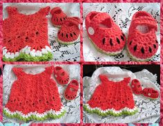Ellen's adorable watermelon ensemble.    wATerMeLOn bABy dReSS & shOEs by wiLDaBoUtCoLoR, via Flickr