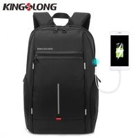 KINGSLONG Men Anti-theft Lock 15.6inch Laptop Backpack Oxford External Cool USB Waterproof School Bags Travel Mochila Masculina