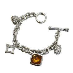 """Fashion Charm Bracelet ; 7.25""""L; Silver Metal with clear and topaz rhinestones; Toggle Closure Eileen's Collection. $19.99. Save 50% Off!"""