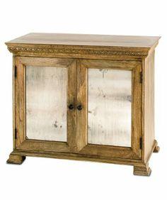 "Currey and Company 3163 Ellis Buffet - 35"" Small Cabinet, Natural Wood/Black Patina/Antique Mirror Finish"
