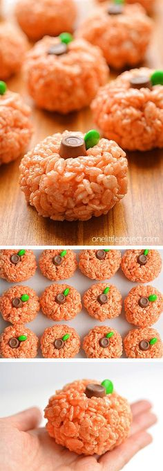 These Rice Krispie treat pumpkins are SO CUTE! And they're really easy to make! These little pumpkins are such a fun Halloween treat. Wouldn't they be great for a Halloween party? Or a treat to send to school on Halloween? They'd even be awesome for Thanksgiving!