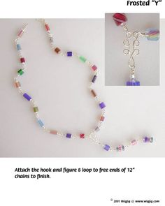 Frosted Y Wire and Beads Necklace made with WigJig jewelry making tools and jewelry supplies.