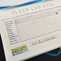 Bullet Journal Sleep Log Yearly: I've set a goal, created a year long tracking log and I plan to color code at the end of each month. The colors will allow me to check when I have fallen short, met my goal and exceeded it at a glance. This could be set up vertically as well.