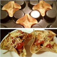 Tortilla bowls. Turn your muffin pan upside down, spray with cooking oil and Bake for 10 min at 375 degrees.