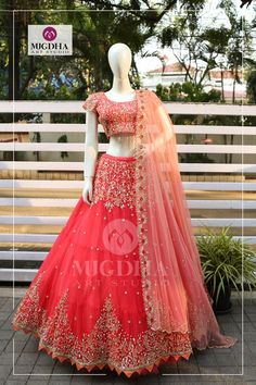 Heavy embroidery lehenga with gorgeous colour and design. They can Customize the color and size as per your requirement.To Order :WhatsApp: 8142029190 / 9010906544 22 March 2018 Indian Bridal Outfits, Indian Bridal Lehenga, Indian Designer Outfits, Pakistani Bridal, Indian Sarees, Half Saree Designs, Lehenga Designs, Blouse Designs, Indian Gowns Dresses