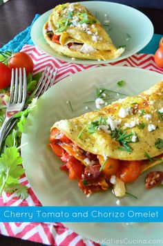 I love all the delicious brunch recipes from Cherry Tomato and Chorizo Omelet - Katie's Cucina Cookbook Recipes, Egg Recipes, Brunch Recipes, Mexican Food Recipes, Breakfast Recipes, Dinner Recipes, Ethnic Recipes, Brunch Food, Breakfast Ideas