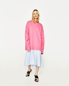 ZARA - MUJER - SUDADERA OVERSIZE MANGA VOLUMEN #pinkaholic Pink trend. Pink, spring summer 2017. Rosa, primavera verano 2017. #tendencias2017 #primaveraverano2017 #rosa