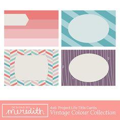 20 Vintage Colour 4x6 Project Life Title Cards