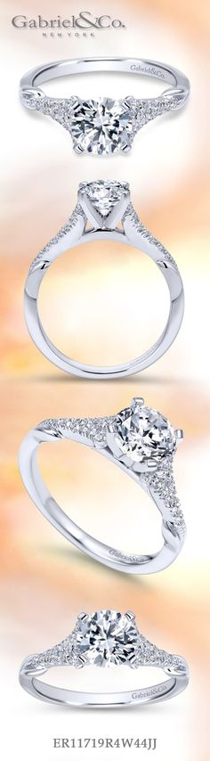 Gabriel & Co. - Voted #1 Most Preferred Fashion Jewelry and Bridal Brand. Sleek and sophisticated 14k White Gold Round Straight Engagement Ring is straight styled for the classic woman.