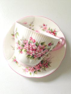 Vintage English Royal Albert Blossom Time Series Apple Blossom Gainsborough Shape Tea Cup and Saucer Tea Party - Ca. Tea Cup Set, My Cup Of Tea, Tea Cup Saucer, Tea Sets, China Cups And Saucers, Teapots And Cups, China Tea Cups, Vintage Cups, Vintage Dishes