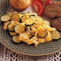 Zucchini Scramble Recipe... Quick easy dinner.  Especially good with a little bacon added in