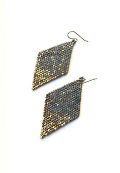 Cube Seed Bead Blue Gold Dust Diamond Shaped Earrings by Calisi