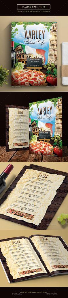 Italian Cafe Menu Template PSD #design Download: http://graphicriver.net/item/italian-cafe-menu/14296117?ref=ksioks