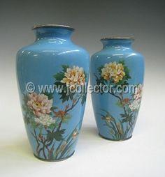 Pair Japanese Cloisonne Vases, Peonies