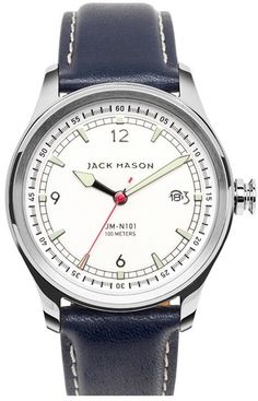 Jack Mason Brand Nautical Leather Strap Watch, 42mm