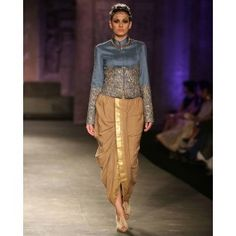 Embroidered Powder Blue Short Jacket with Dhoti Pant