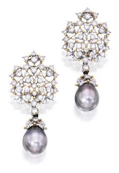 Pair of 18 Karat White Gold, Gray Cultured Pearl and Diamond Pendant-Earclips, Buccellati:  Suspending two gray cultured pearls measuring approximately 14.2 by 12.1 mm and 13.9 by 12.2 mm, accented by round diamonds weighing approximately 4.00 carats, signed Gianmaria Buccellati, numbered U896; pendants detachable.