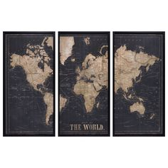 Budding explorers and would-be adventurers, the EXPLORE black world map triptych frame is for you! Based on the aesthetic of old planispheres, Living Room Decor On A Budget, Living Rooms, Decorative Storage Boxes, Trunks And Chests, Black Picture, Quilted Bedspreads, Baby Decor, Dresden, Black Metal