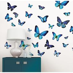 Brewster Home Fashions Mariposa Butterfly Wall Art Kit Wall Art - Macy's Mariposa Butterfly, Butterfly Wall Decals, Butterfly Wall Art, Blue Butterfly, Butterfly Nursery, Butterfly Wallpaper, Beach Wall Decals, Vinyl Wall Decals, Wall Stickers