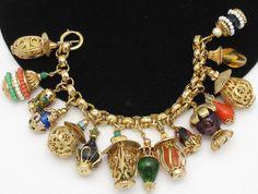 Vintage NAPIER Oriental Asian Lantern Glass Bead Charm Bracelet