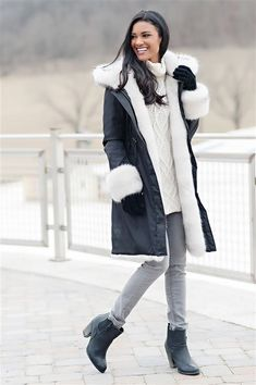 Order your Black Hooded Faux Fur-Lined Knee-Length Coat Today. Luxury faux fur coats, jackets, accessories, throws & more. Fabulous Furs, Fur Coats, Girls Wear, Coats For Women, Faux Fur, Hoods, Winter Jackets, How To Wear, Collection