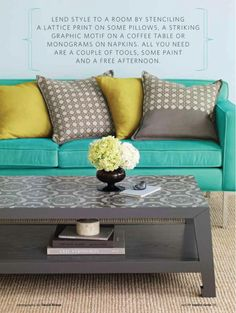 Again with the gray and yellow plus turquoise... I likey.