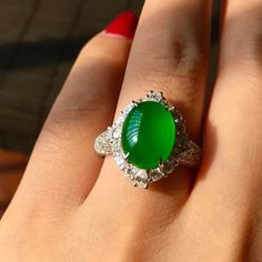Gorgeous clear icy royal green jade wedding ring 5K Jade