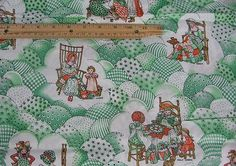 Vintage Holly Hobbie Fabric Green 2 1/2 yds 5 scenes Quilting Mother Child Girl