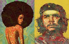 O português Luís Alves mistura cores e estampas para criar ilustrações incríveis inspiradas em grandes personalidades da música soul, cinema e história.