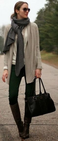 Fall Outfit With Long Boots,Plain Cardigan and Shades