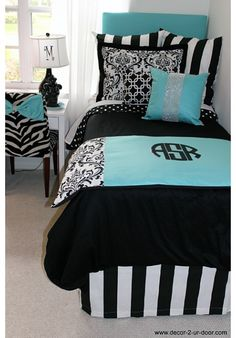Tiffany Blue Designer Teen & Dorm Bed in a Bag bring the bling! www.decor-2-ur-door.com 100's of combinations