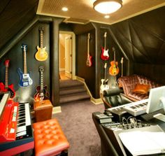 How To Decorate A Home Music Room. I wouldn't know whether to sleep or to record music!