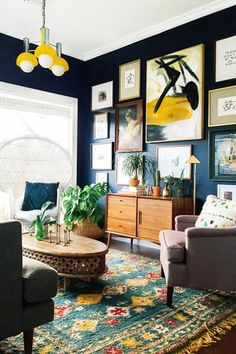 eclectic home decor also with a decorating tips also with a living room design also with a african home decor also with a house interior design New Living Room, Home And Living, Living Spaces, Small Living, Cozy Living, Mid Century Living Room, Dark Walls Living Room, Artwork For Living Room, Mid Century Wall Art