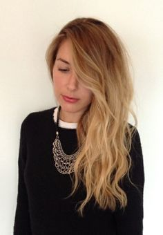 Long healthy hair. Ombre with a loose, soft wave.