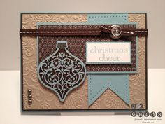"""Stampin' Up!, Mojo 254, Ornaments Keepsakes, Holiday Ornaments Framelits, Sweet Essentials, Lacy Brocade Embossing Folder, Festival of Prints DSP Stack, Early Espresso Embossing Powder, Essentials Paper-Piercing Pack, Paper Piercing Tool, Round Designer Ribbon Slides, Early Espresso 1/4"""" Stitched Grosgrain Ribbon, Vintage Faceted Designer Buttons, Basic Jewels Rhinestones, Metallic 3/16"""" Brads"""