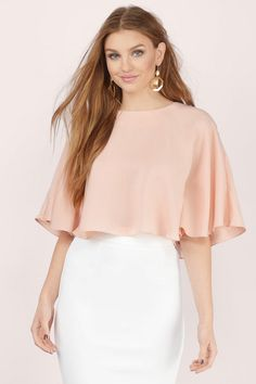 Fall in love with the Cool Breeze Flutter Crop Top.  Featuring capelet top.  Pair with high waisted skirt and heels.
