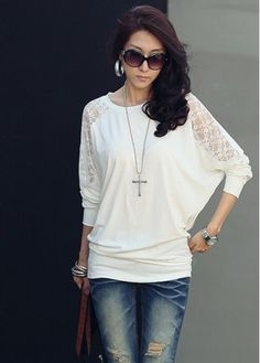 Woman's Alluring Lace Patchwork White Batwing Sleeve T-Shirts - USD $12.21