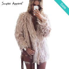 Faux Fur coat -                             Faux Fur coatMaterial: Faux FurSleeve Length: FullClothing Length: RegularCollar: V-NeckClosure Type: Covered Button                          - On Sale for $68.00 (was $79.00)