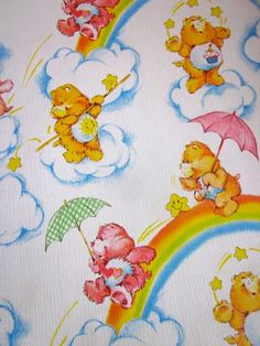 1980s Care Bear Wallpaper. I had this! If you peer behind the radiator in the box room you can still see it!