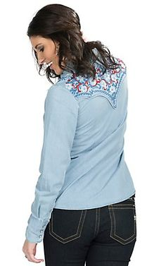 Panhandle Women's Chambray Denim with American Embroidery Long Sleeve Retro Western Shirt | Cavender's