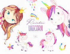 Watercolor magic clipart little girls babies Etsy Little Unicorn, Cute Unicorn, Rainbow Unicorn, My Little Pony, Little Girls, Unicorn Art, Illustration Mignonne, Cute Illustration, Clip Art