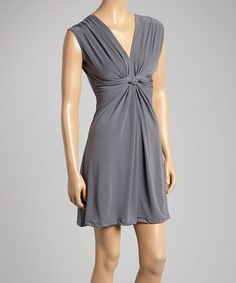 Another great find on #zulily! Gray Ruched V-Neck Dress #zulilyfinds