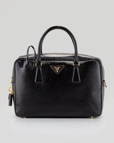 Saffiano Vernice TV Bag, Black by Prada at Bergdorf Goodman.